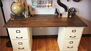 File Cabinet Corner Desk Diy Pottery Barn Inspired Desk Using Goodwill Filing Cabinets In 2019