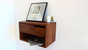 Floating Nightstand with Drawer Diy Floating Nightstand with Shelf Walnut Hardwood 20 L Mid Century