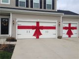 Garage Door Christmas Wrap Diy Red Burlap Ribbon and Bow for Christmas Decor for