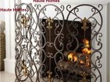 Hobby Lobby Fireplace Screens New Horchow French Fleur De Lis 3 Panels Scroll Brass Iron