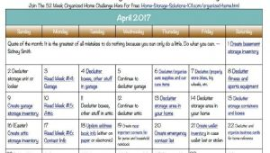 Home Storage solutions 101 Calendar Free Printable April 2017 Decluttering Calendar with Daily 15 Minute