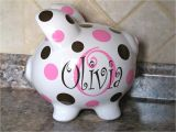 Large Personalized Piggy Banks Large Personalized Ceramic Piggy Bank with Initial