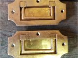 Lucite and Brass Pulls 2 Vintage solid Brass Recessed Flush Door Drawer Cupboard Cabinet