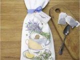 Mary Lake Thompson Flour Sack towels Stacked Teacups with Lavender Flour Sack towels