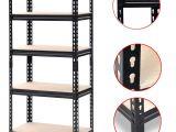 Metal Storage Shelves Walmart Yaheetech Black Adjustable 5 Shelf Shelving Unit Storage Rack