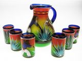 Mexican Hand Blown Drinking Glasses Mexican Glassware and Matching Pitcher Hand Blown Glassware