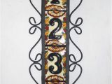 Mexican Tile House Numbers with Frame 4 Mexican Black House Numbers Tiles with Vertical Iron