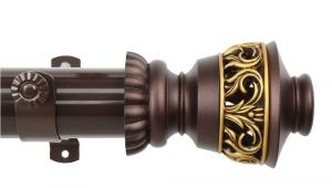 Outdoor Curtain Rod with Post Set Canada 165 In 215 In 1 5 In O D Lattice Curtain Rod Set In Mahogany