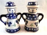 Polish Pottery Salt and Pepper Shakers Boleslawiec Polish Pottery Salt and Pepper Shaker Blue White