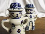 Polish Pottery Salt and Pepper Shakers Cute Polish Boleslawiec Salt and Pepper Shaker People Hand