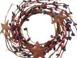Red White and Blue Pip Berry Candle Rings Americana Rusty Stars and Pip Berry Candle Ring Pip