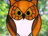 Stained Glass Owl Suncatcher Patterns Stained Glass Golden Owl with Golden Eyes Suncatcher