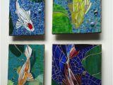 Vetro D Arte Tempered Art Glass Mosaic Koi Tiles Outdoor Glass Wall Art Set Of 4